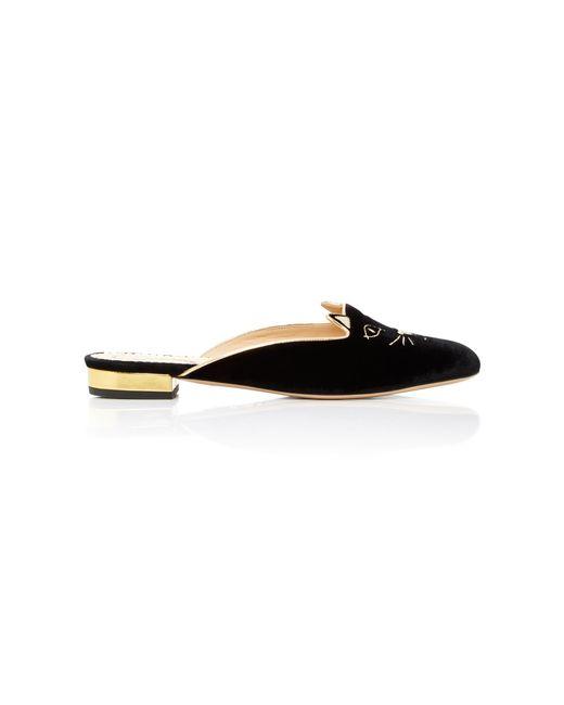 Charlotte Olympia - Black Kitty Embroidered Velvet Slippers - Lyst