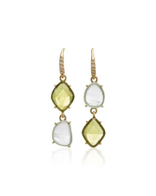 Lauren K | Green 18k Yellow Gold Peridot And Aquamarine Earrings | Lyst
