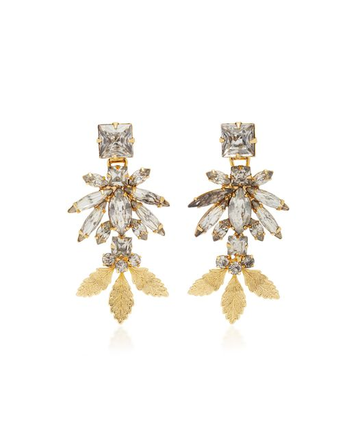 Nicole Romano | Metallic 18k Gold Triple Leaf Crystal Earrings | Lyst
