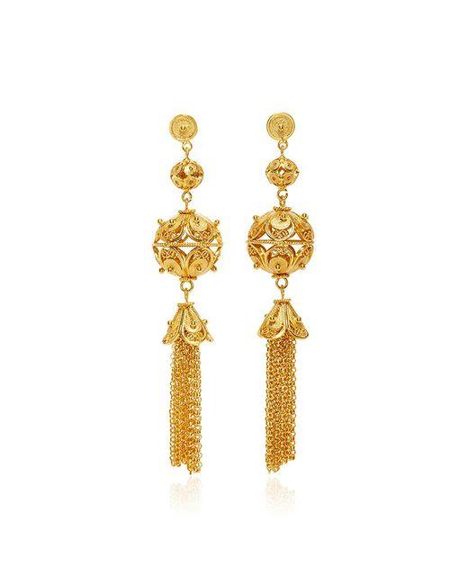 Mallarino - Metallic Gala Embellished Ball And Tassel Earrings - Lyst