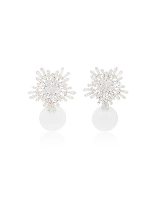 Fallon | White Starburst Rhodium And Crystal Pearl Drop Earrings | Lyst
