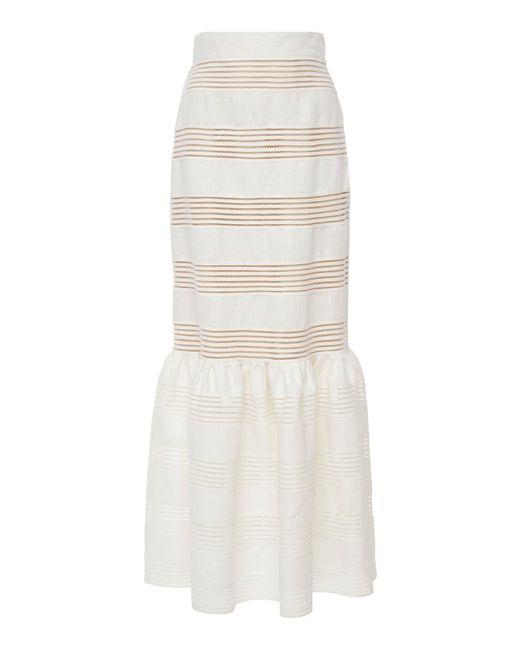Zimmermann - White Corsage Striped Linen Midi Skirt - Lyst
