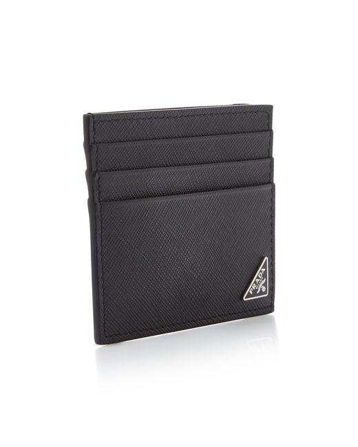 445dc7aa741 ... Prada - Black Saffiano Leather Card Case for Men - Lyst ...