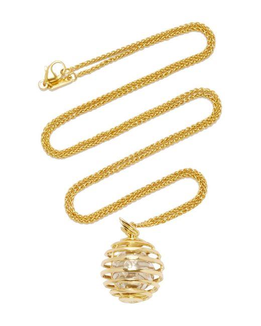 "Monica Rich Kosann - Metallic 18k Yellow Gold Mercury ""creativity"" Charm Necklace On 22"" Wheat Chain - Lyst"