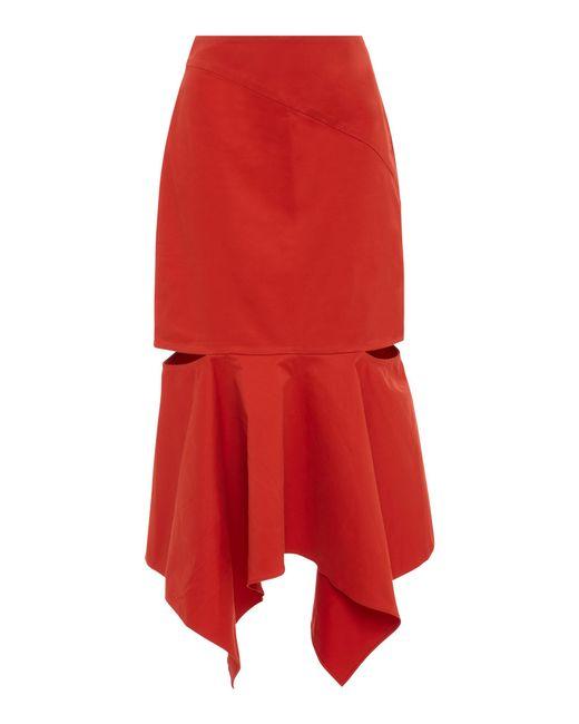 Edit - Orange Cutout Asymmetric Stretch-cotton Midi Skirt - Lyst
