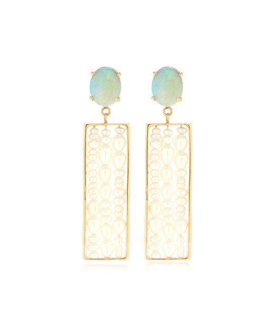 Wwake - White Metaphor Gold, Opal And Seed Pearl Earrings - Lyst