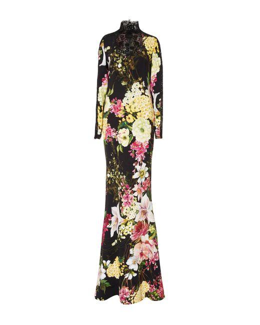 Naeem Khan | Black Long Sleeve Floral Gown | Lyst