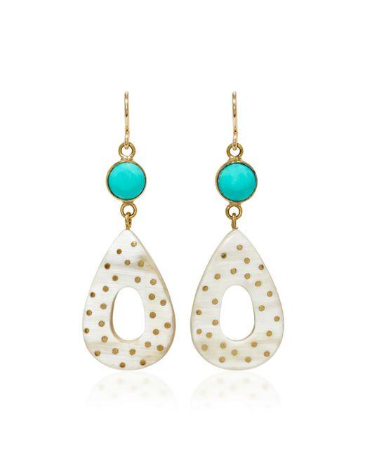 Ashley Pittman - White Bendi Horn And Turquoise Earrings - Lyst