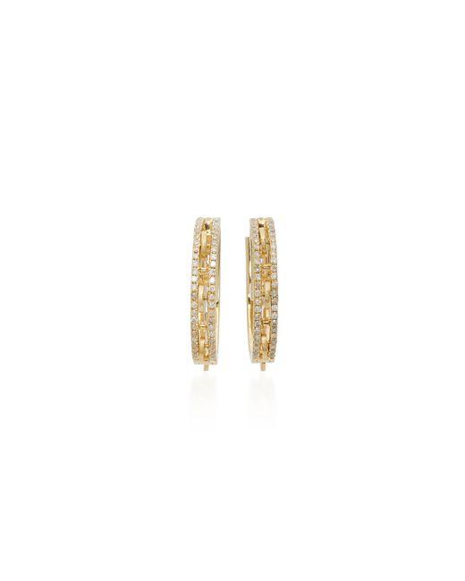 Yvonne Léon | Metallic 18k Gold Diamond Hoop Earrings | Lyst