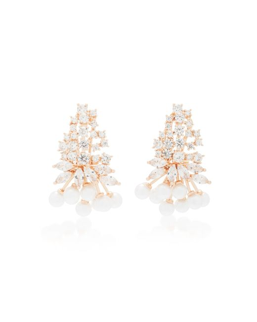 Fallon | Pink Monarch Juniper Cluster Crystal And Rose Gold-plated Earrings | Lyst