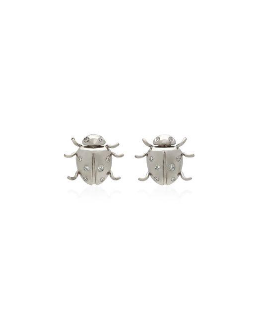 Colette | Metallic Ladybug 18k White Gold Diamond Earrings | Lyst