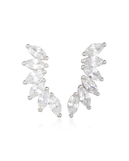 Fallon | Metallic Rhodium Plated Cubic Zirconia Marquis Wing Climber Earrings | Lyst