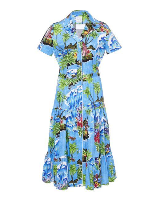 91abf09f Stella Jean - Blue Hawaiian Check Shirt Dress - Lyst ...