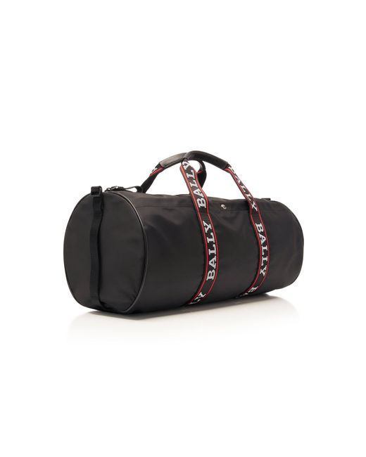 75c430db03cd ... Bally - Black Nylon Logo Duffle Bag for Men - Lyst ...