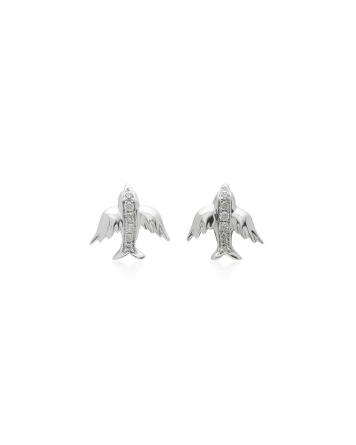 Colette | Metallic Mini Bird 18k White Gold Diamond Earrings | Lyst