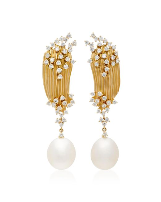 Hueb | Metallic Plisse 18k Gold, Diamond And Pearl Earrings | Lyst