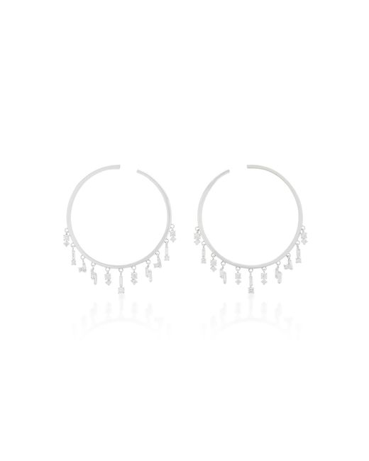 Suzanne Kalan | 18k White Gold And Diamond Hoop Earrings | Lyst