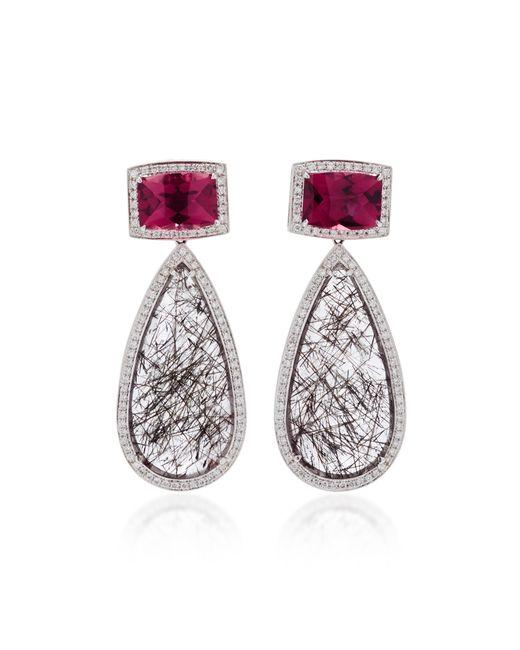 Dana Rebecca   Gray 18k White Gold Multi-stone Earrings   Lyst