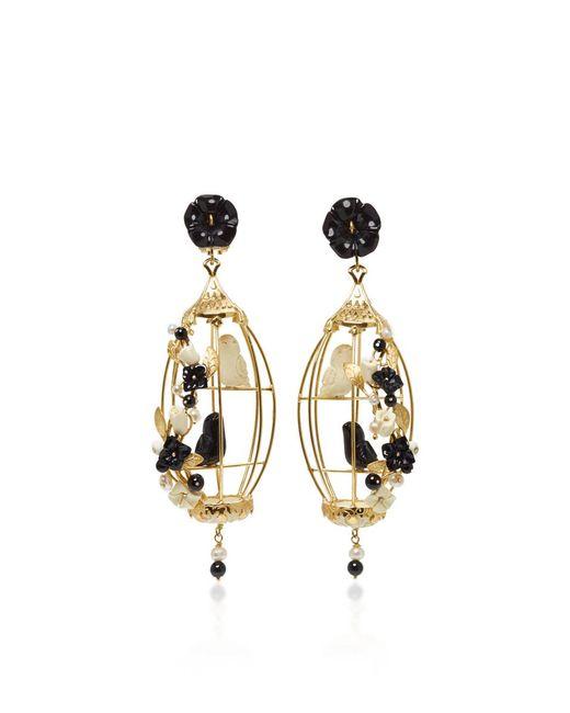 Of Rare Origin - Black And White Lovebird Earring - Lyst