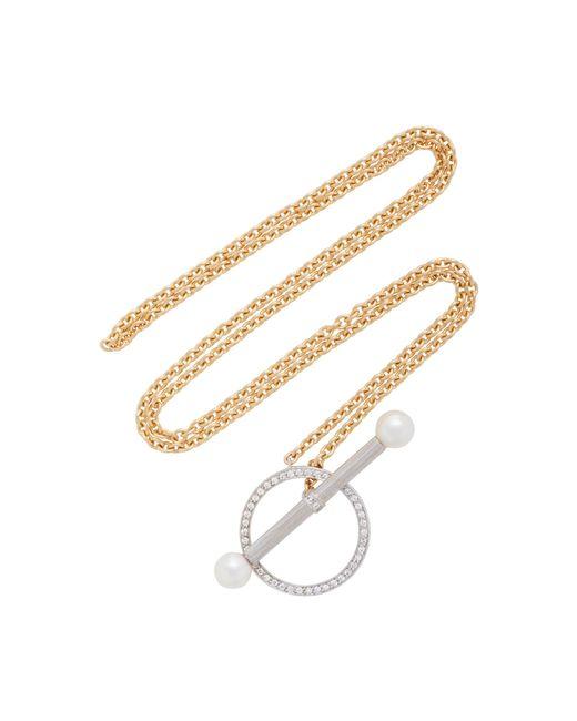 Yvonne Léon   Metallic Barre 18k Gold, Diamond And Pearl Necklace   Lyst
