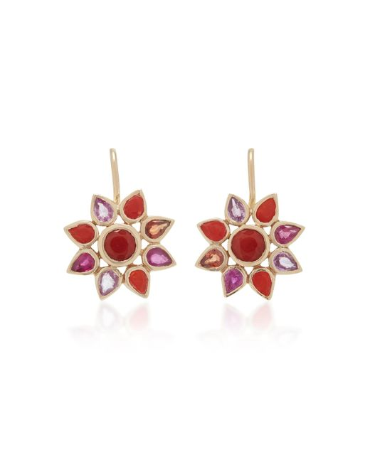 She Bee - Red 14k Gold, Coral, And Sapphire Flower Earrings - Lyst