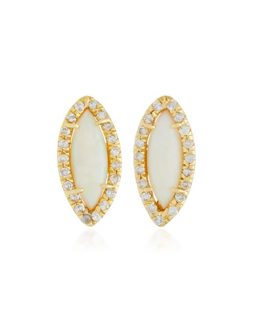 Kimberly Mcdonald - White 18k Gold, Opal And Diamond Stud Earrings - Lyst