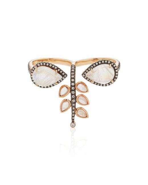 Misahara   Metallic 18k Rose Gold Rainbow Moonstone And Diamond Ring   Lyst