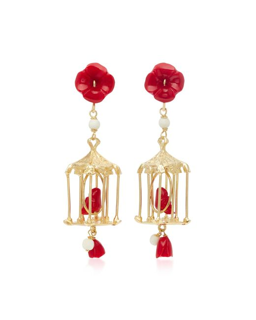 Of Rare Origin | Red Pagoda 18k Yellow Gold Vermeil, Coral And White Agate Earrings | Lyst