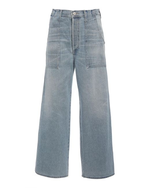 Citizens of Humanity Blue Eva Cropped High-rise Wide-leg Jeans