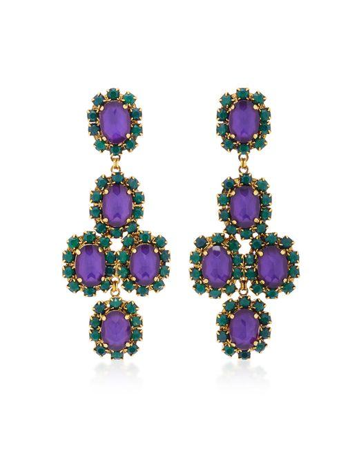 Erickson Beamon | Green Funhouse 24k Gold-plated Crystal Earrings | Lyst