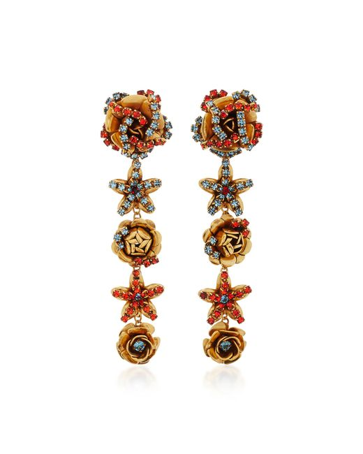 Erickson Beamon | Metallic Vermeil Bouquet 24k Gold-plated Crystal Earrings | Lyst