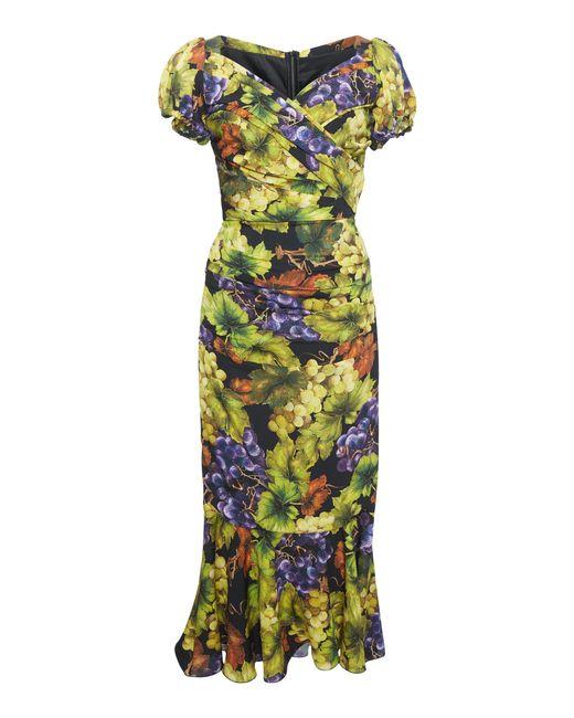 Dolce & Gabbana - Multicolor Ruched Printed Stretch-silk Midi Dress - Lyst