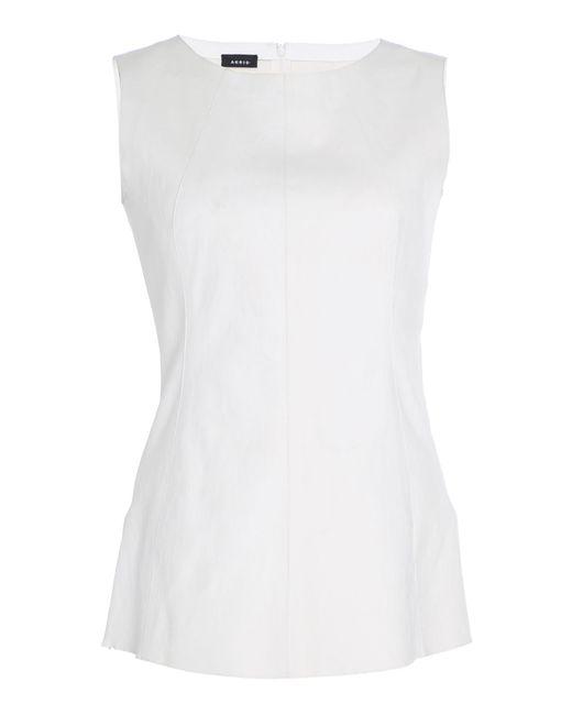 ab51353b564 Akris - White Leather Sleeveless Blouse - Lyst ...