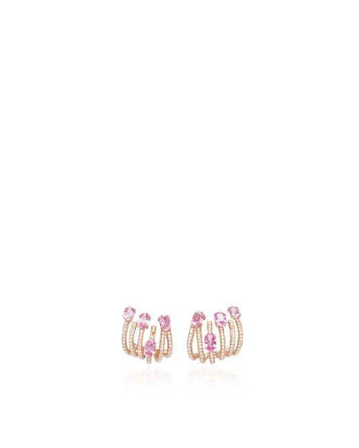 Hueb | Metallic 18k Rose Gold And Sapphire Spectrum Earrings | Lyst