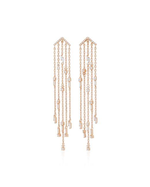 Suzanne Kalan - Pink 18k Rose Gold Diamond Chandelier Earrings - Lyst