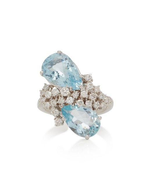 Noa - Glacier 18k White Gold, Aquamarine And Diamond Ring - Lyst