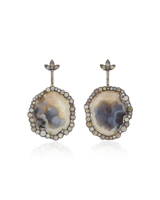 Kimberly Mcdonald - Gray 18k Gold, Geode And Diamond Earrings - Lyst