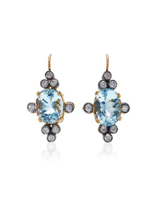 Montse Esteve | Blue 18k Gold, Aquamarine And Diamond Earrings | Lyst