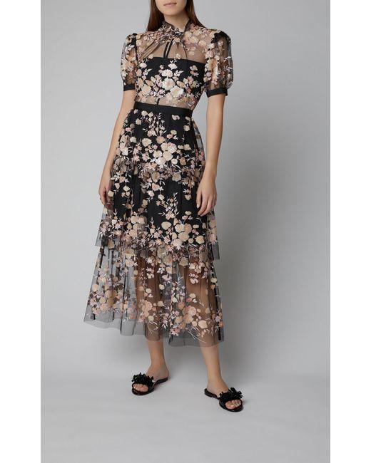 32e00778873e ... Self-Portrait - Black Floral-embroidered Mesh Midi Dress - Lyst ...