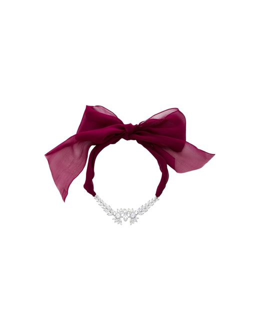 Fallon - Pink Crystal Embellished Tuxedo Bow Choker Necklace - Lyst