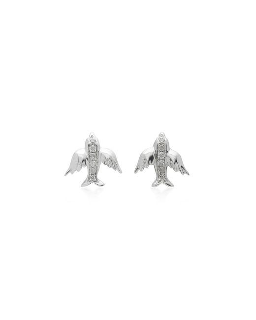 Colette | Metallic Mini Bird 18k White Gold Diamond Earrings | Lyst