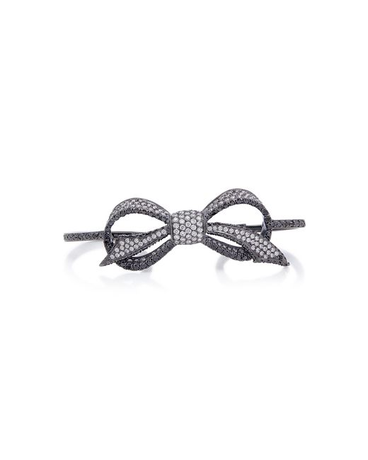 Colette - Bow 18k Black Gold And Diamond Three-finger Ring - Lyst