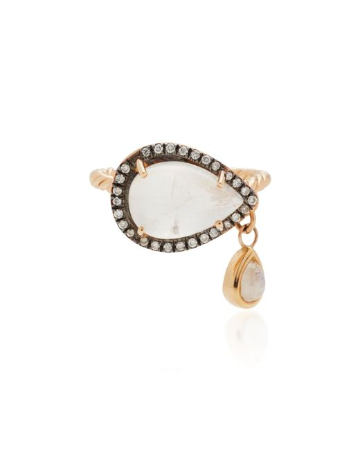 Misahara | Metallic Compassionate Eye 18k Rose Gold Rainbow Moonstone Ring | Lyst