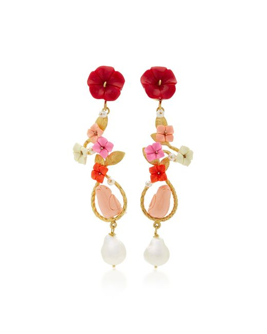 Of Rare Origin - Red M'o Exclusive: Mating Bird 18k Gold Multi-stone Earrings - Lyst