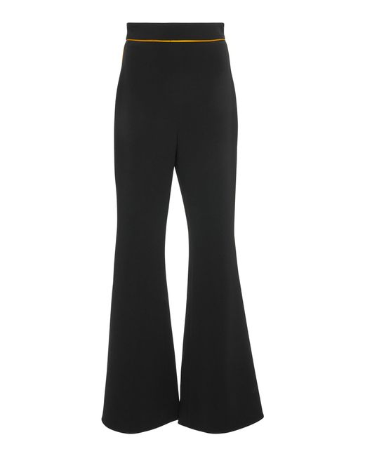 Peter Pilotto - Black Contrast High-rise Satin Flared Pants - Lyst