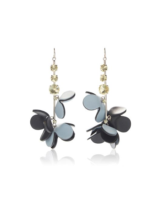 Marni | Blue Leather Flowers And Strass Earrings | Lyst