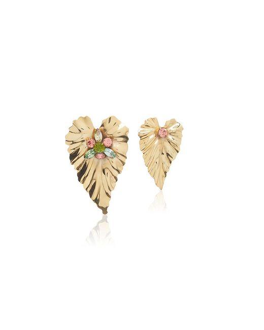 Rodarte | Metallic Gold Stud Leaf Earrings With Swarovski Crystal Details | Lyst