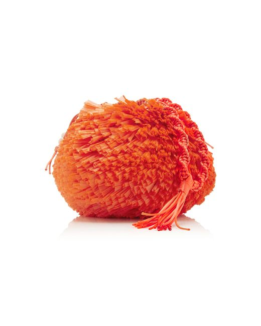 Carolina Santo Domingo - Orange Uni Embellished Raffia Bag - Lyst