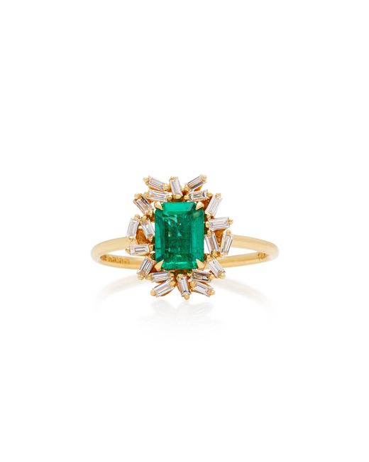 Suzanne Kalan - Green One-of-a-kind 18k Yellow Gold Emerald And Diamond Ring - Lyst