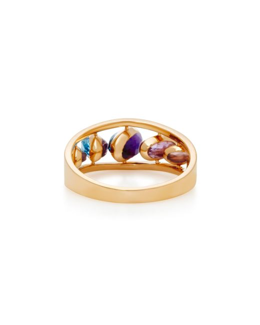 Swiveling 18K Rose Gold Blue Topaz and Pink Amethyst Spiral Ring Marie Mas 5QDLq